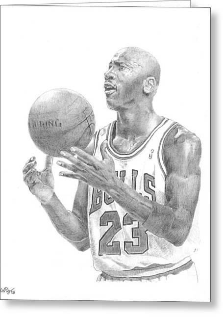 Chicago Bulls Drawings Greeting Cards - Michael Jordan Greeting Card by William Pleasant