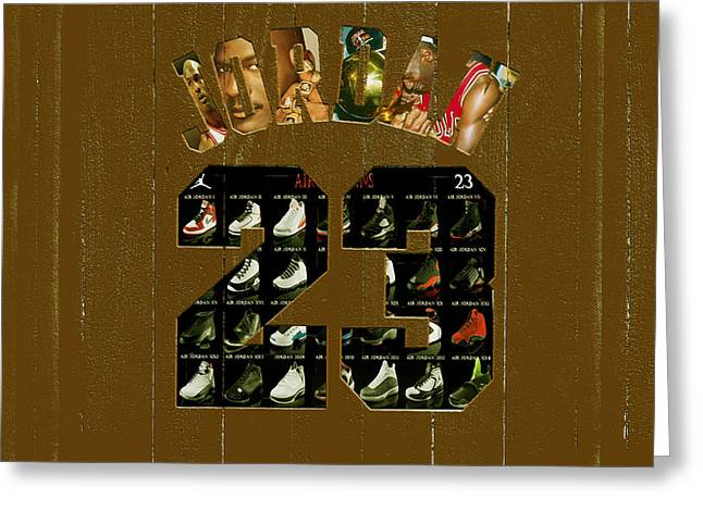 Michael Jordan Wood Art 2k Greeting Card by Brian Reaves