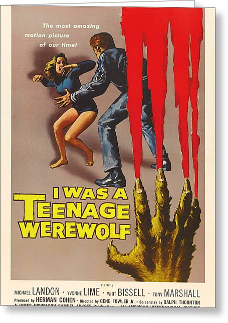 1950s Movies Greeting Cards - Michael Landon In I Was A Teenage Werewolf 1957 Greeting Card by Mountain Dreams