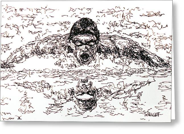Michael Phelps Greeting Card by Robert Yaeger