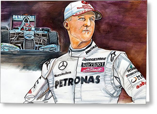 Michael Schumacher Greeting Card by Dave Olsen