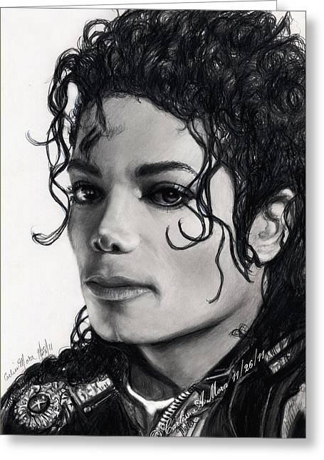 Mj Drawings Greeting Cards - Michael Still Watches Greeting Card by Carliss Mora
