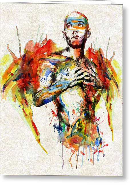 Modern Digital Art Digital Art Greeting Cards - Michael Stipe Greeting Card by Marian Voicu