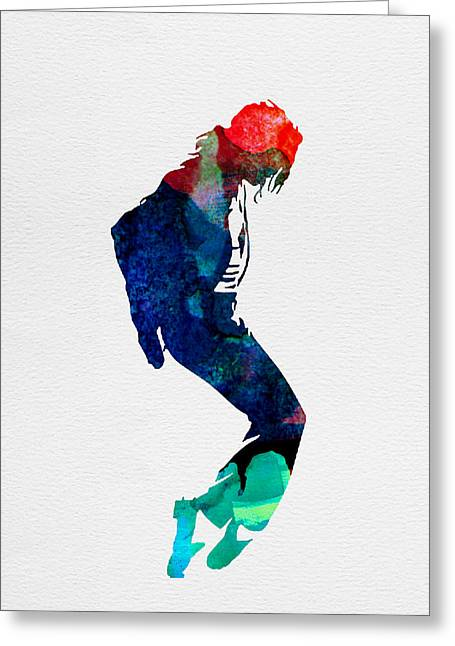 Disco Greeting Cards - Michael Watercolor Greeting Card by Naxart Studio