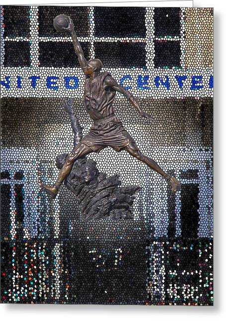 Michael Jordan Greeting Cards - Michael Jordan Stained Glass Greeting Card by Robert Storost