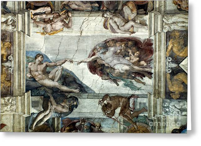 Michelangelo Greeting Cards - Michelangelo: Adam Greeting Card by Granger