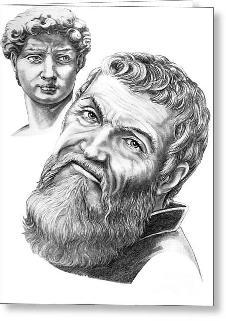 Michelangelos David Greeting Cards - Michelangelo and David Greeting Card by Murphy Elliott