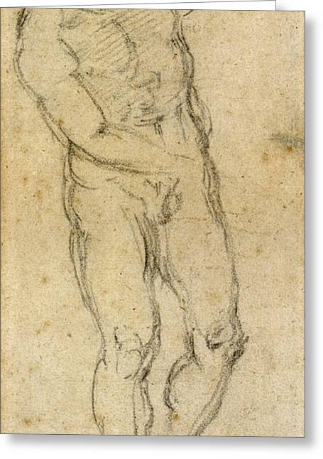 Michelangelo Greeting Cards - Michelangelo: Male Nude Greeting Card by Granger