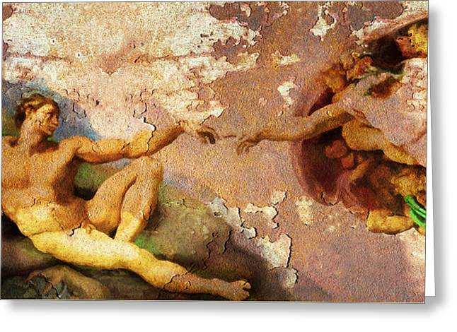 Period Digital Art Greeting Cards - Michelangelo The Creation of Adam in Rust 20150622 Greeting Card by Wingsdomain Art and Photography