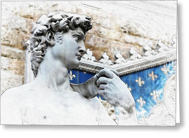Michelangelo Greeting Cards - Michelangelos David Greeting Card by Nostalgic Art