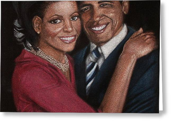Michelle and Barack Greeting Card by Diane Bombshelter