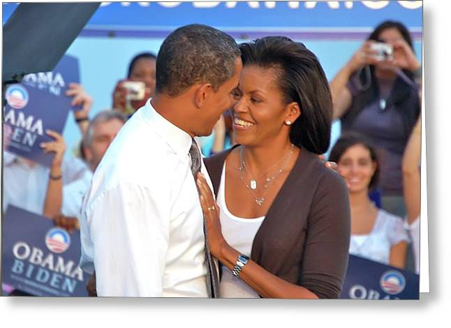 Michelle And Barack Greeting Card by Richard Pross