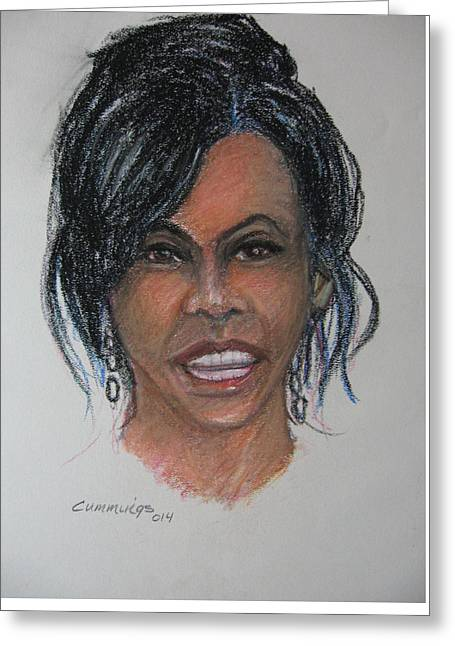Michelle-obama Greeting Cards - Michelle Obama Greeting Card by John Cummings