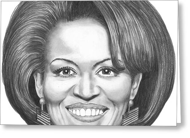 Michelle Obama Greeting Card by Murphy Elliott