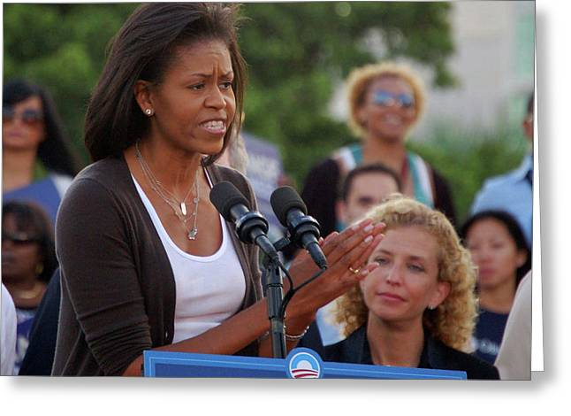 Michelle Obama Greeting Card by Richard Pross