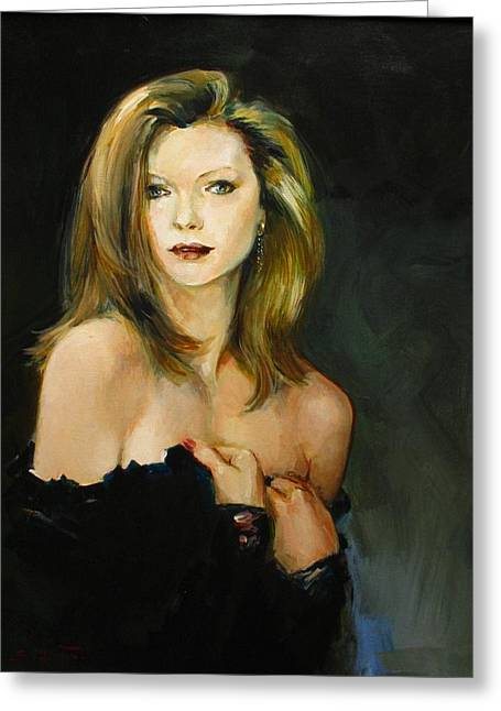 Custom Greeting Cards - Michelle Pfeiffer Greeting Card by Tigran Ghulyan
