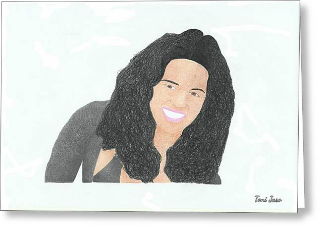 Michelle Greeting Cards - Michelle Rodriguez Greeting Card by Toni Jaso