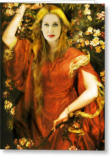 Michelle Greeting Cards - MICHELLE WHITEDOVE Homage to Dante Gabriel Rossetti Greeting Card by Lvca Morrow