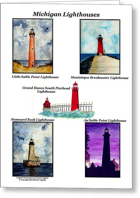 Points Drawings Greeting Cards - Michigan Lighthouses Collage Greeting Card by Michael Vigliotti