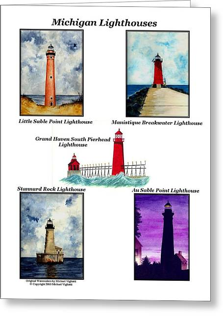 Rocks Drawings Greeting Cards - Michigan Lighthouses Collage Greeting Card by Michael Vigliotti