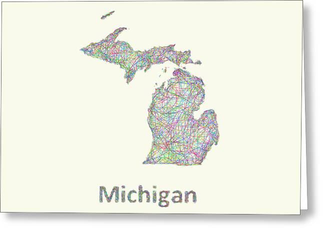 Michigan Line Art Map Greeting Card by David Zydd