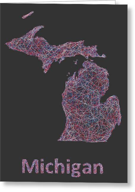 Michigan Map Greeting Card by David Zydd