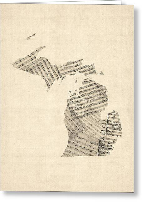 Michigan Map, Old Sheet Music Map Greeting Card by Michael Tompsett