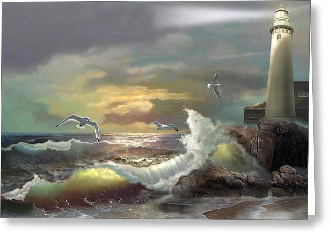 Sunset Scene Greeting Cards - Michigan Seul Choix Point Lighthouse with an Angry Sea Greeting Card by Gina Femrite