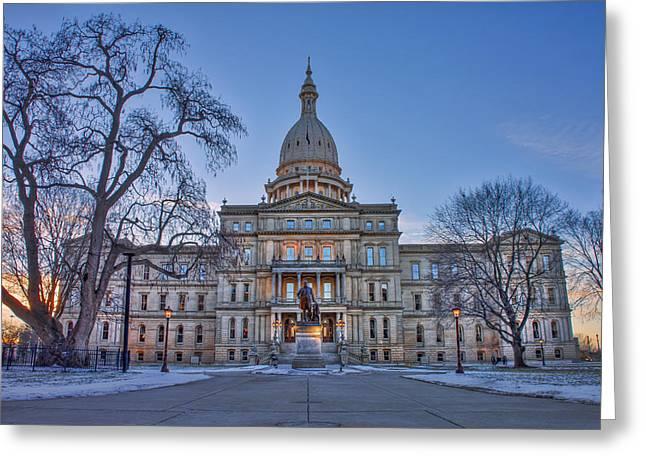 Michigan State Capitol Greeting Card by Nicholas Grunas