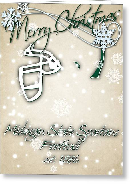 Michigan State Spartans Christmas Card 2 Greeting Card by Joe Hamilton