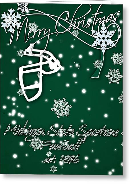 Michigan State Spartans Christmas Card Greeting Card by Joe Hamilton