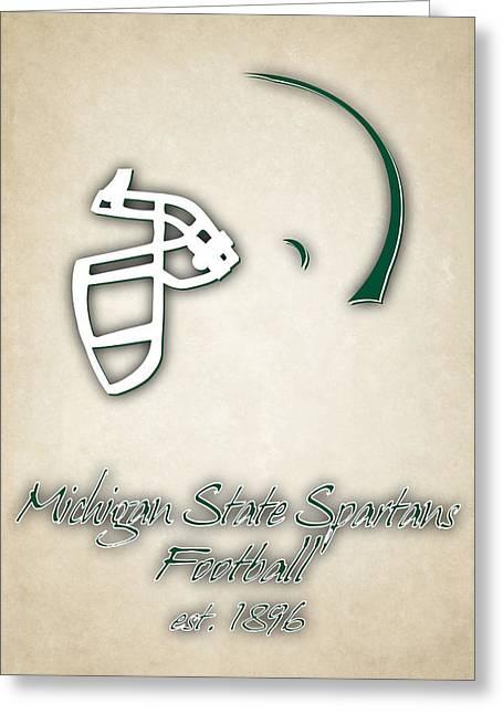 Michigan State Spartans Helmet 2 Greeting Card by Joe Hamilton