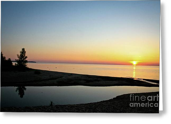 Michigan Sunset Greeting Card by Brent Parks