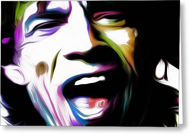 Mick Jagger 2v By Nixo Greeting Card by Nicholas Efthimiou Nixo