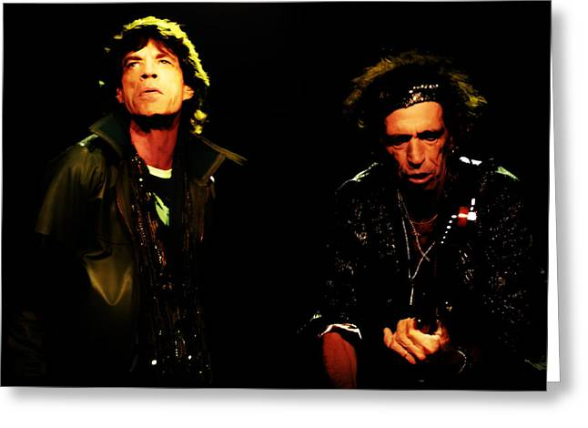 Mick Jagger And Keith Richards Greeting Cards - Mick Jagger and Keith Richards 4e Greeting Card by Brian Reaves