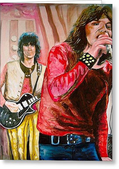 Keith Richards Paintings Greeting Cards - Mick Jagger and Keith Richards Greeting Card by Leland Castro