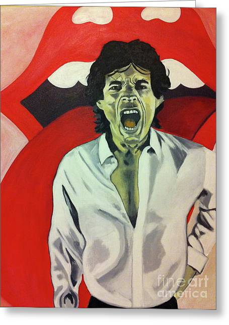 Satisfaction Greeting Cards - Mick Jagger Greeting Card by Carla Bank