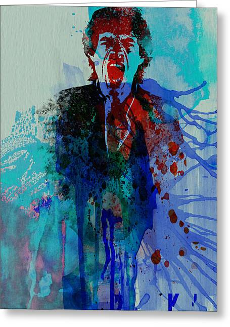 Jagger Greeting Cards - Mick Jagger Greeting Card by Naxart Studio