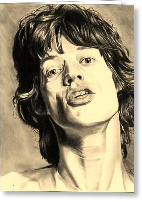 Mick Jagger Portrait Greeting Cards - Mick Jagger Greeting Card by Kohdai Kitano