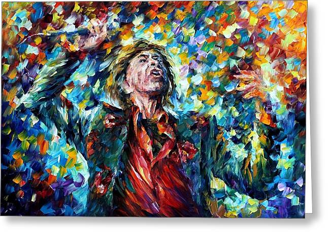 Mick Jagger Paintings Greeting Cards - Mick Jagger Greeting Card by Leonid Afremov
