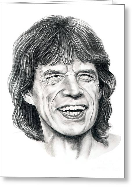 Mick Jagger Greeting Card by Murphy Elliott