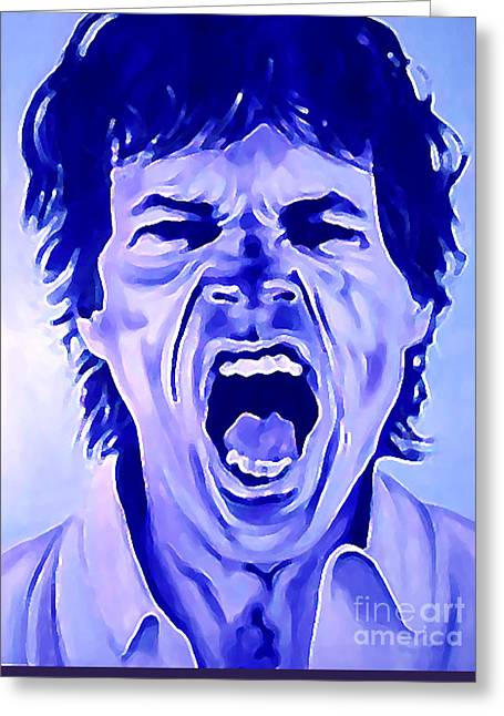 Keith Richards Paintings Greeting Cards - Mick Jagger Rolling Stones Greeting Card by Margaret Juul