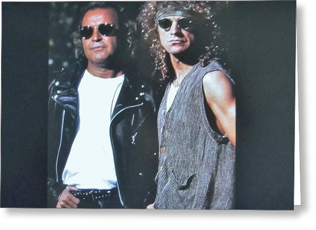 Leather Belt Greeting Cards - Mick Jones and Lou Gramm Of Foreigner Greeting Card by Donna Wilson