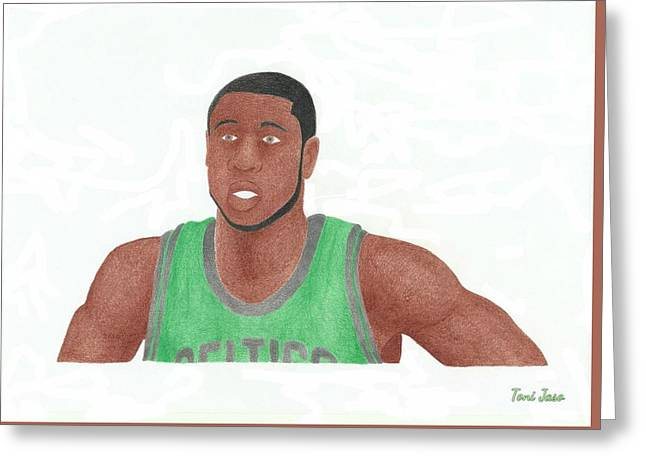 Boston Celtics Drawings Greeting Cards - Mickael Pietrus Greeting Card by Toni Jaso