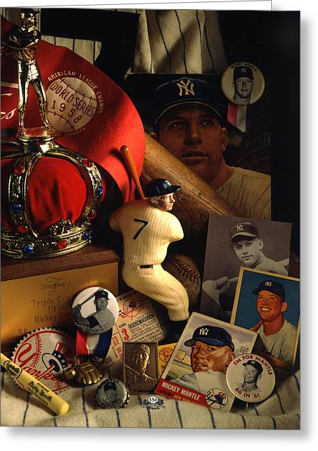 Baseball Glove Greeting Cards - Mickey Mantle Greeting Card by David M Spindel