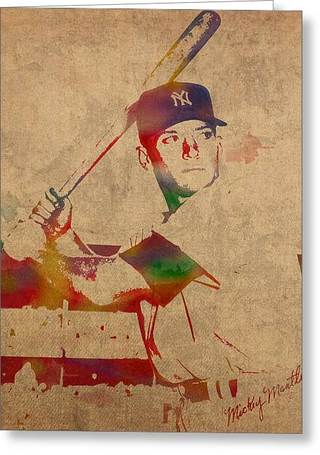 New York Yankees Mixed Media Greeting Cards - Mickey Mantle New York Yankees Baseball Player Watercolor Portrait on Distressed Worn Canvas Greeting Card by Design Turnpike