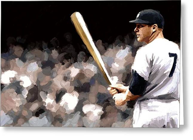 Leon Jimenez Greeting Cards - Mickey Mantle Signed Prints available at laartwork.com Coupon Code KODAK Greeting Card by Leon Jimenez
