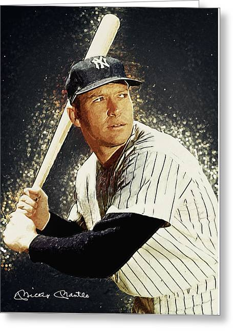 Mickey Mantle Portrait Greeting Cards - Mickey Mantle Greeting Card by Taylan Soyturk
