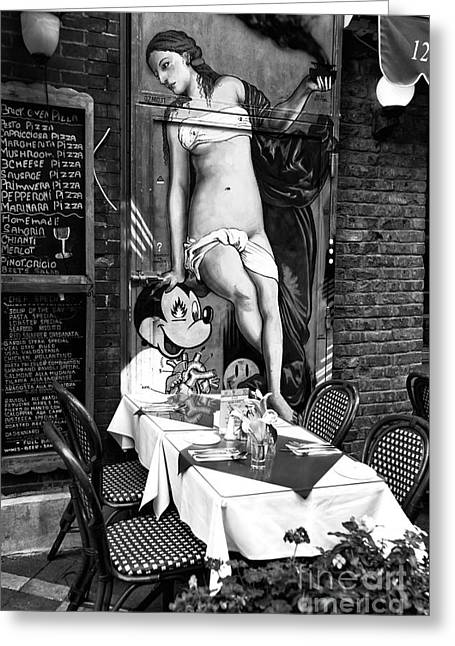 Italian Restaurant Greeting Cards - Mickey Mouse in Little Italy Greeting Card by John Rizzuto