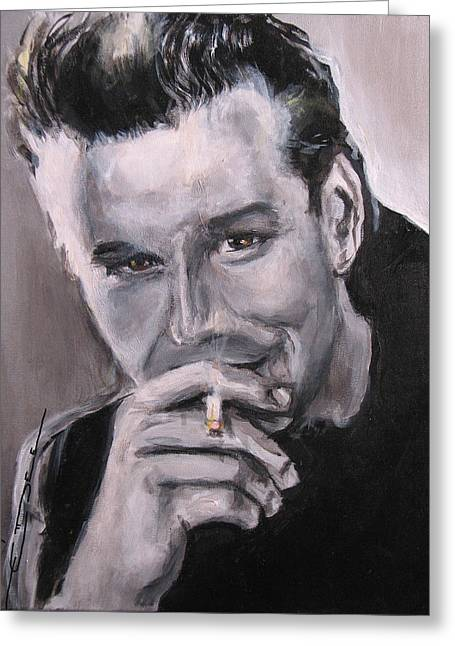 James Dean Drawings Greeting Cards - Mickey Rourke Greeting Card by Eric Dee
